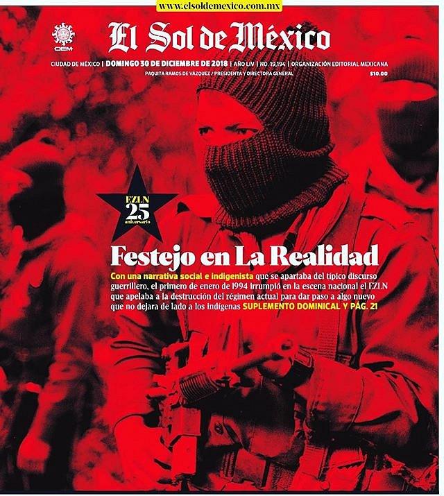 La portada de hoy del Sol  con una imagen que tomé hace 25 años sobre el EZLN. #Memoria